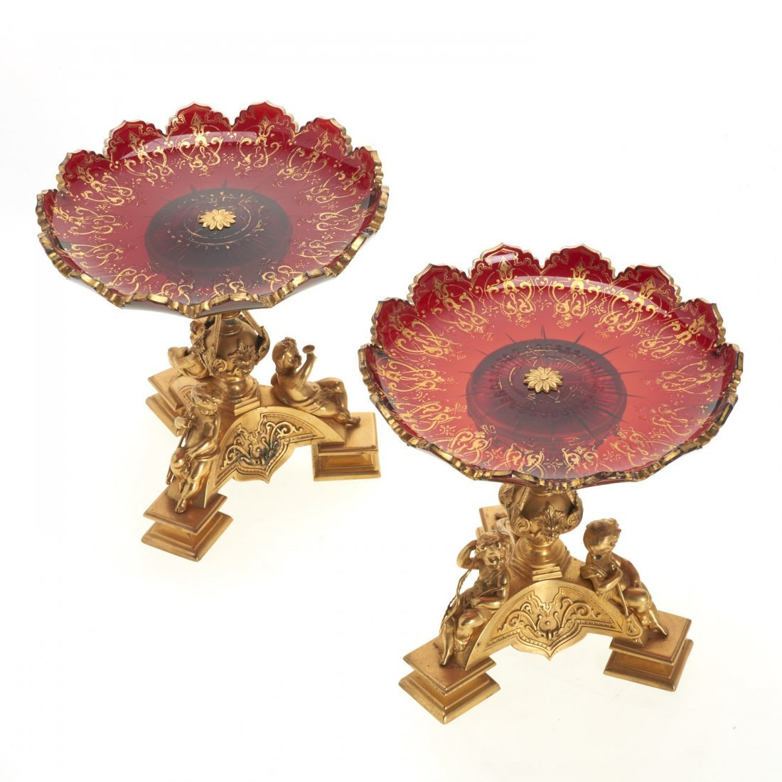 Pr Napoleon III style gilt bronze and glass tazze