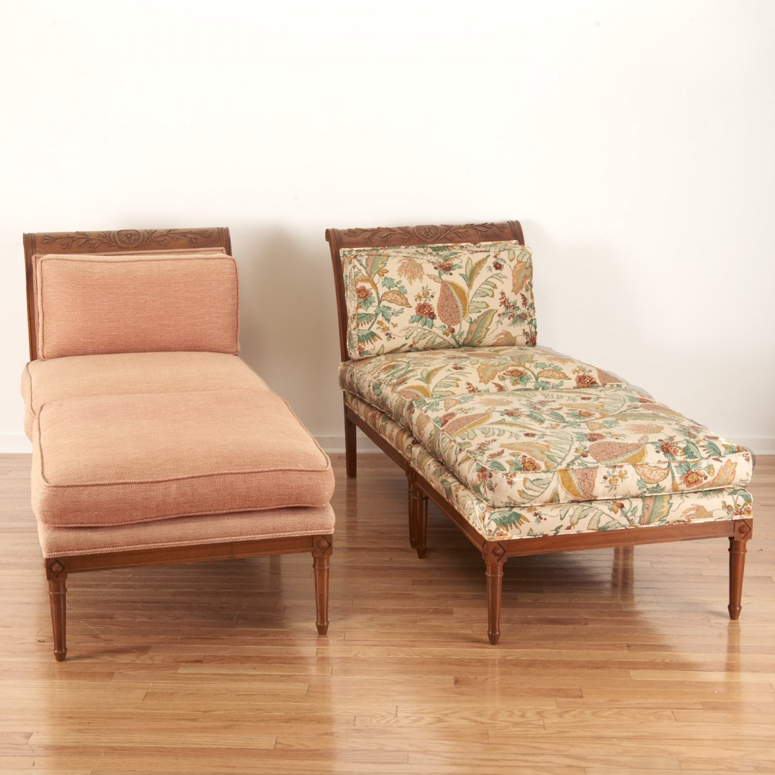 Pair Neo-Directoire upholstered walnut chauffeuse