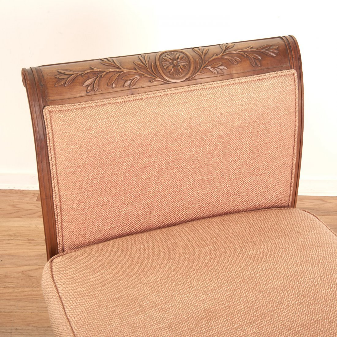 Pair Neo-Directoire upholstered walnut chauffeuse - 5