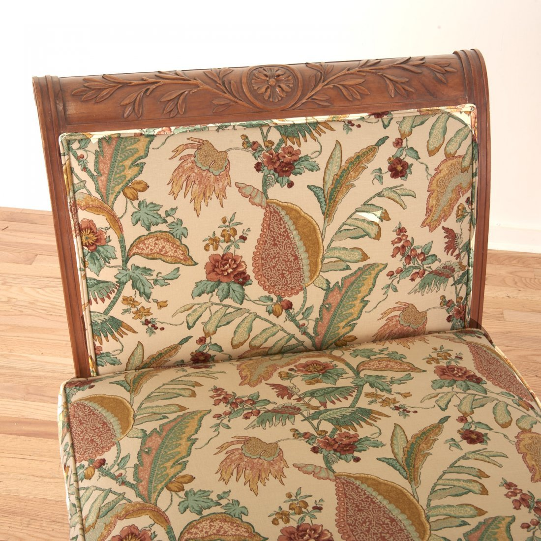 Pair Neo-Directoire upholstered walnut chauffeuse - 6
