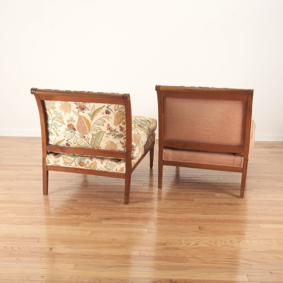 Pair Neo-Directoire upholstered walnut chauffeuse - 7