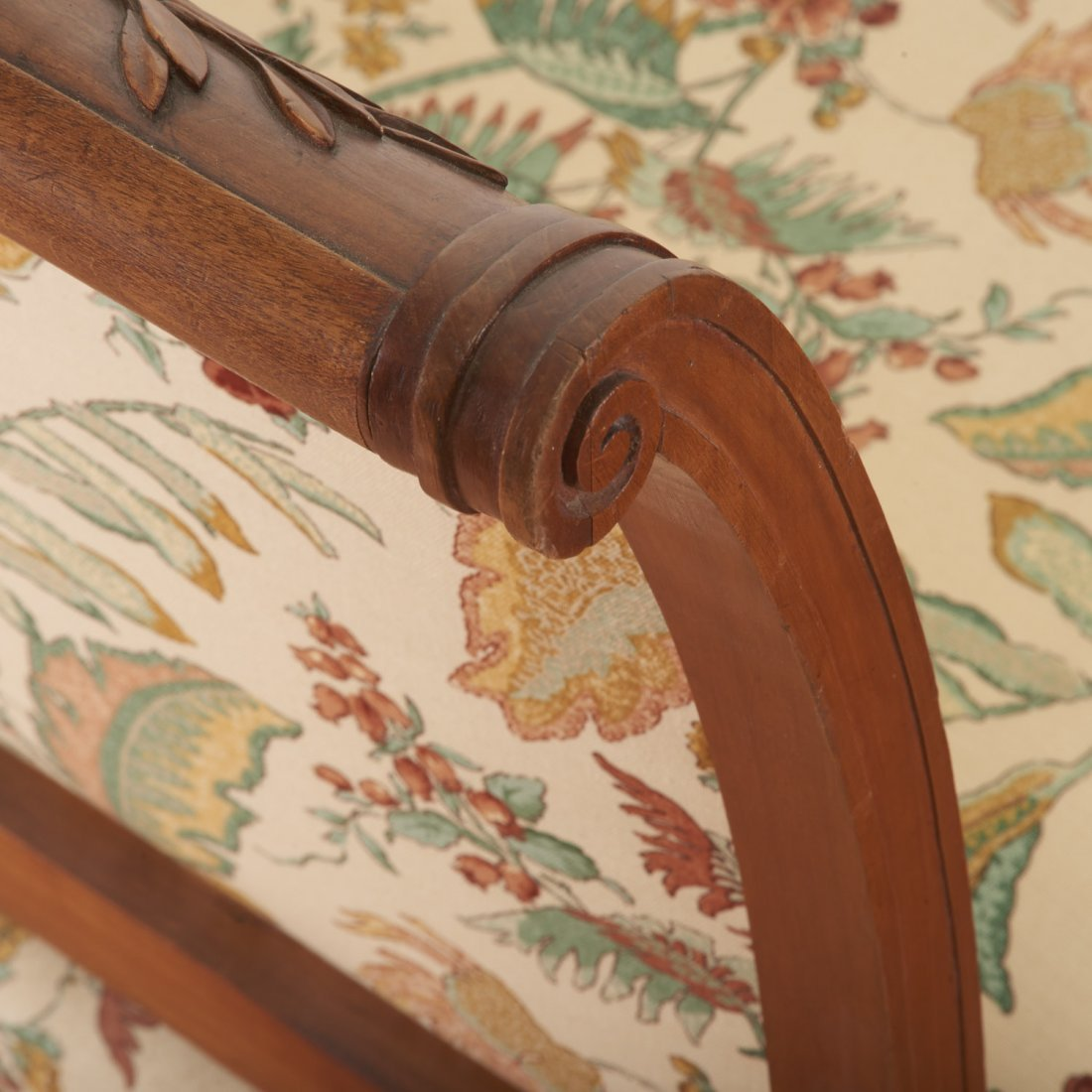 Pair Neo-Directoire upholstered walnut chauffeuse - 8