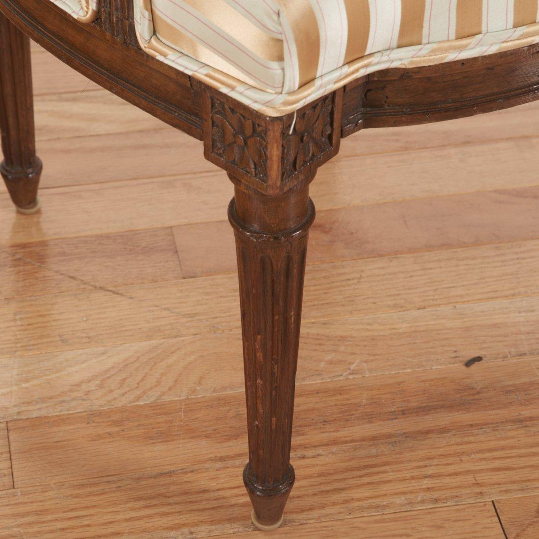 Pr Directoire silk upholstered mahogany fauteuils - 6