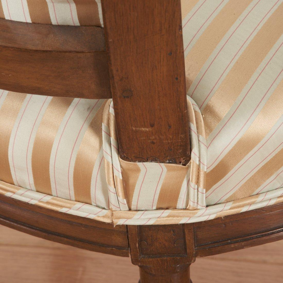 Pr Directoire silk upholstered mahogany fauteuils - 8