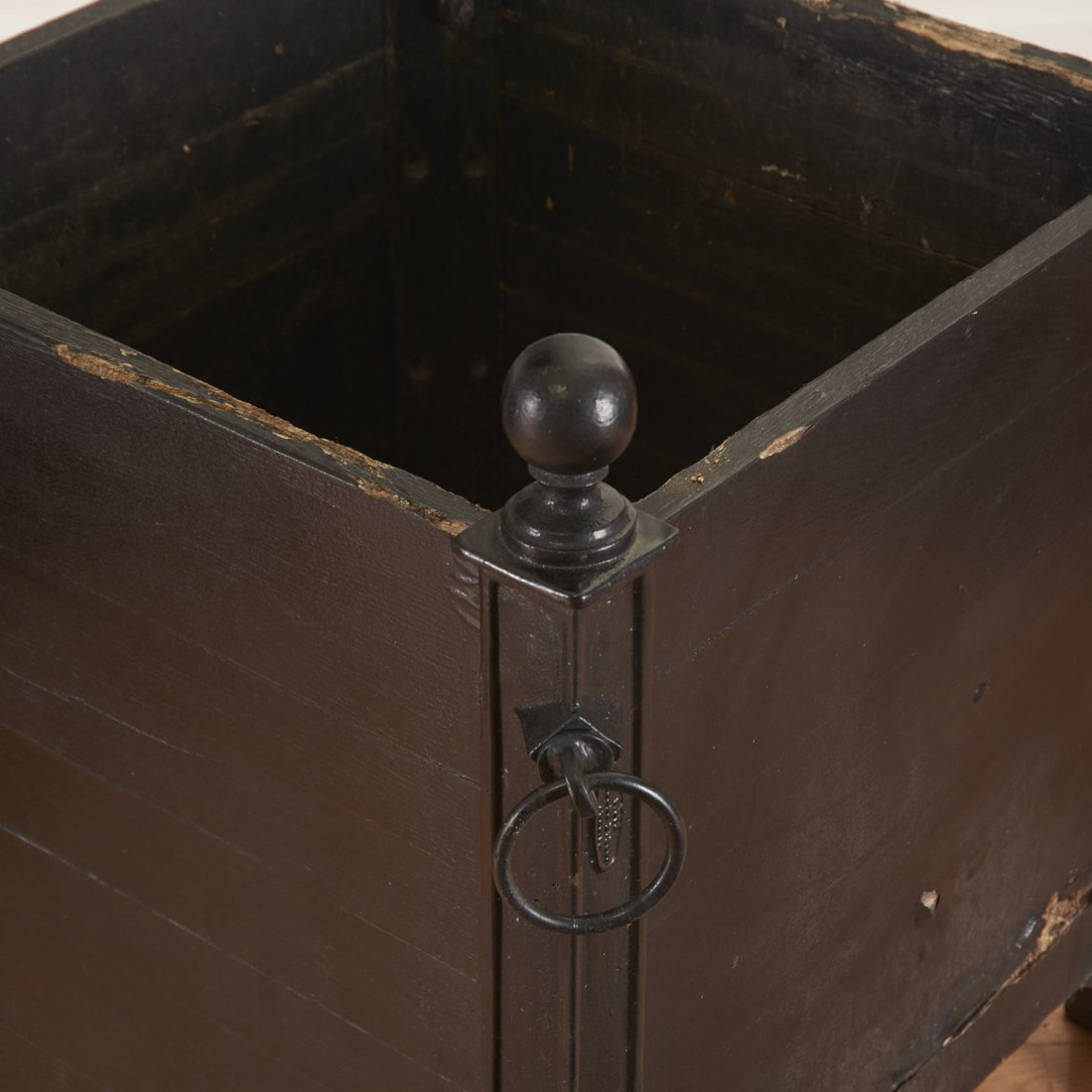 Pair Versaille iron and wood planter boxes - 2