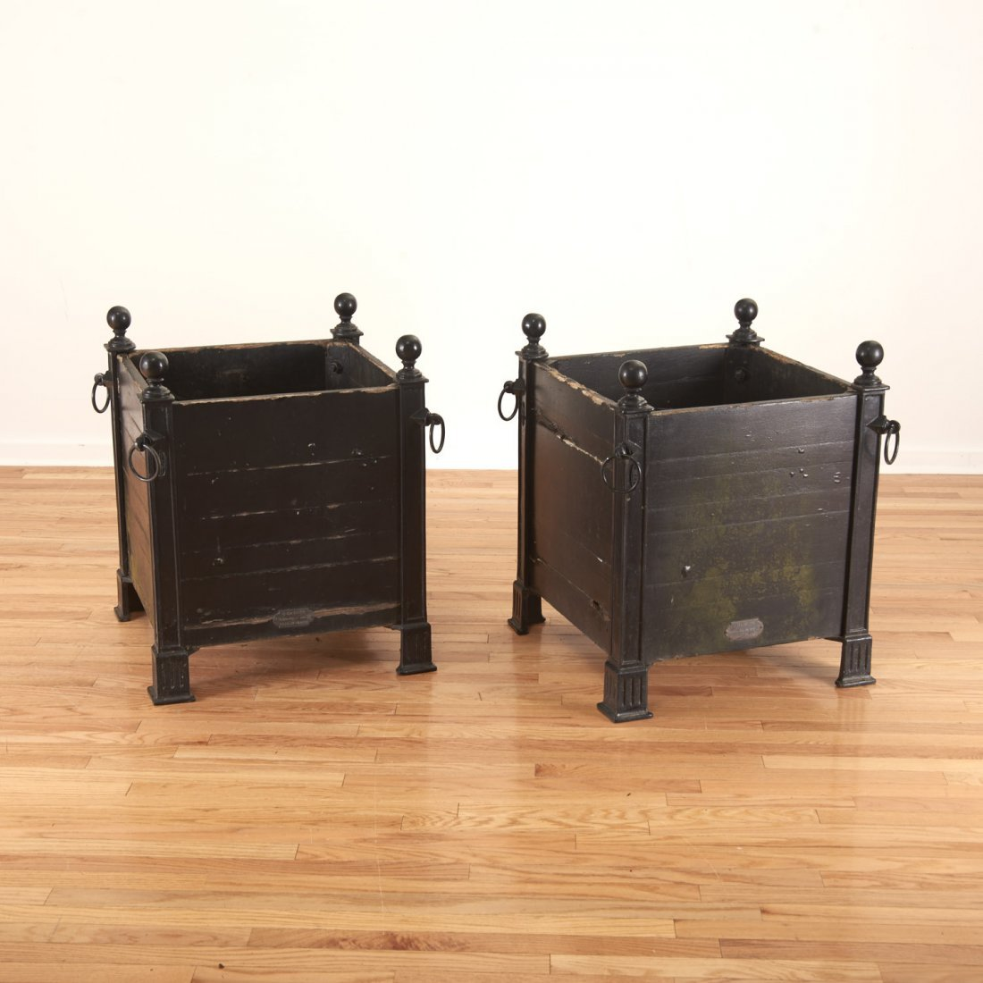 Pair Versaille iron and wood planter boxes - 6
