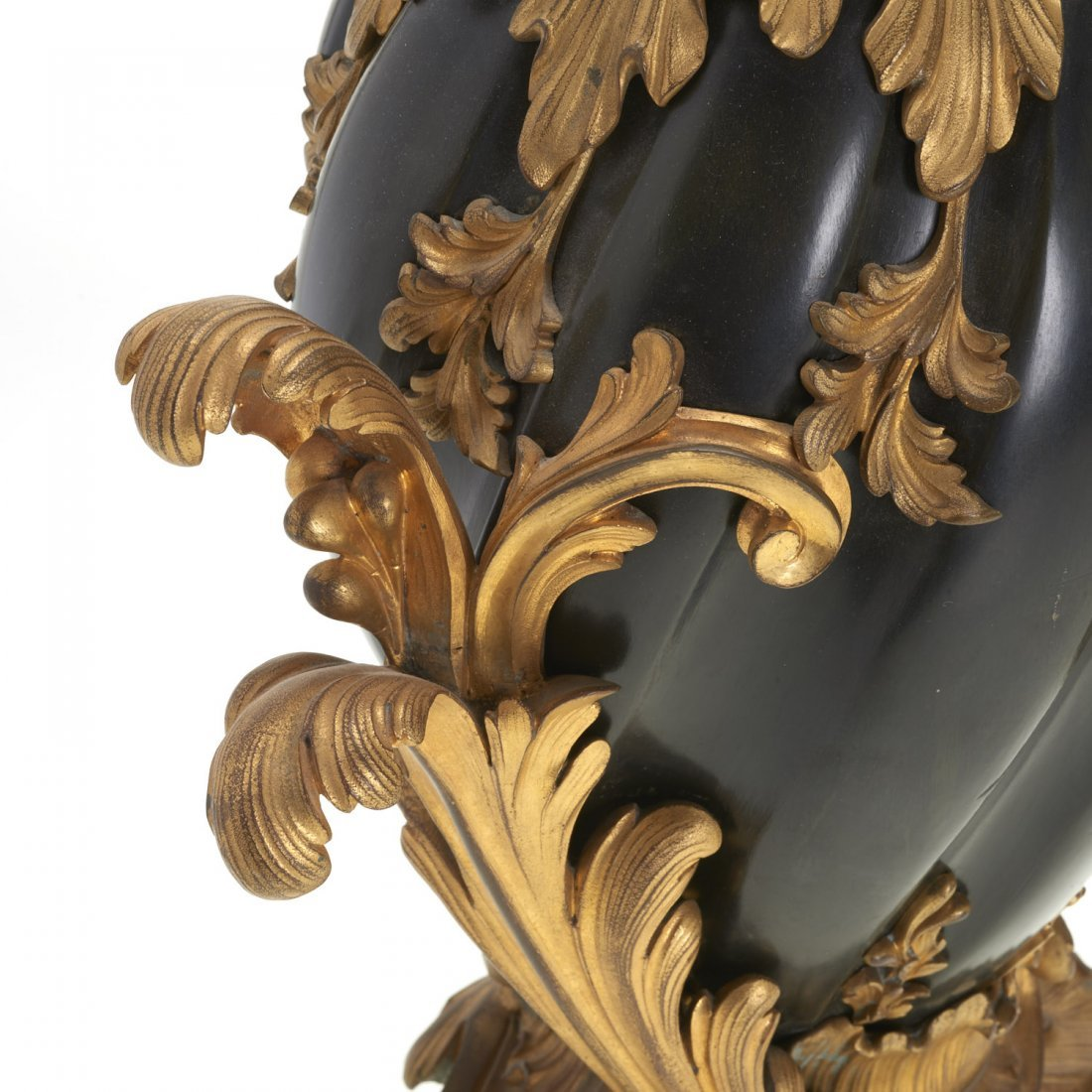 Pr Continental Rococo gilt, ebonized bronze lamps - 3