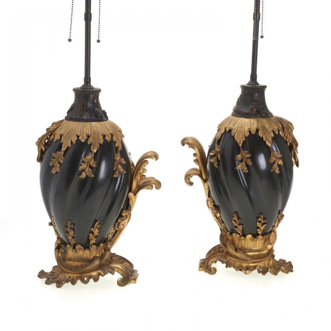 Pr Continental Rococo gilt, ebonized bronze lamps - 4