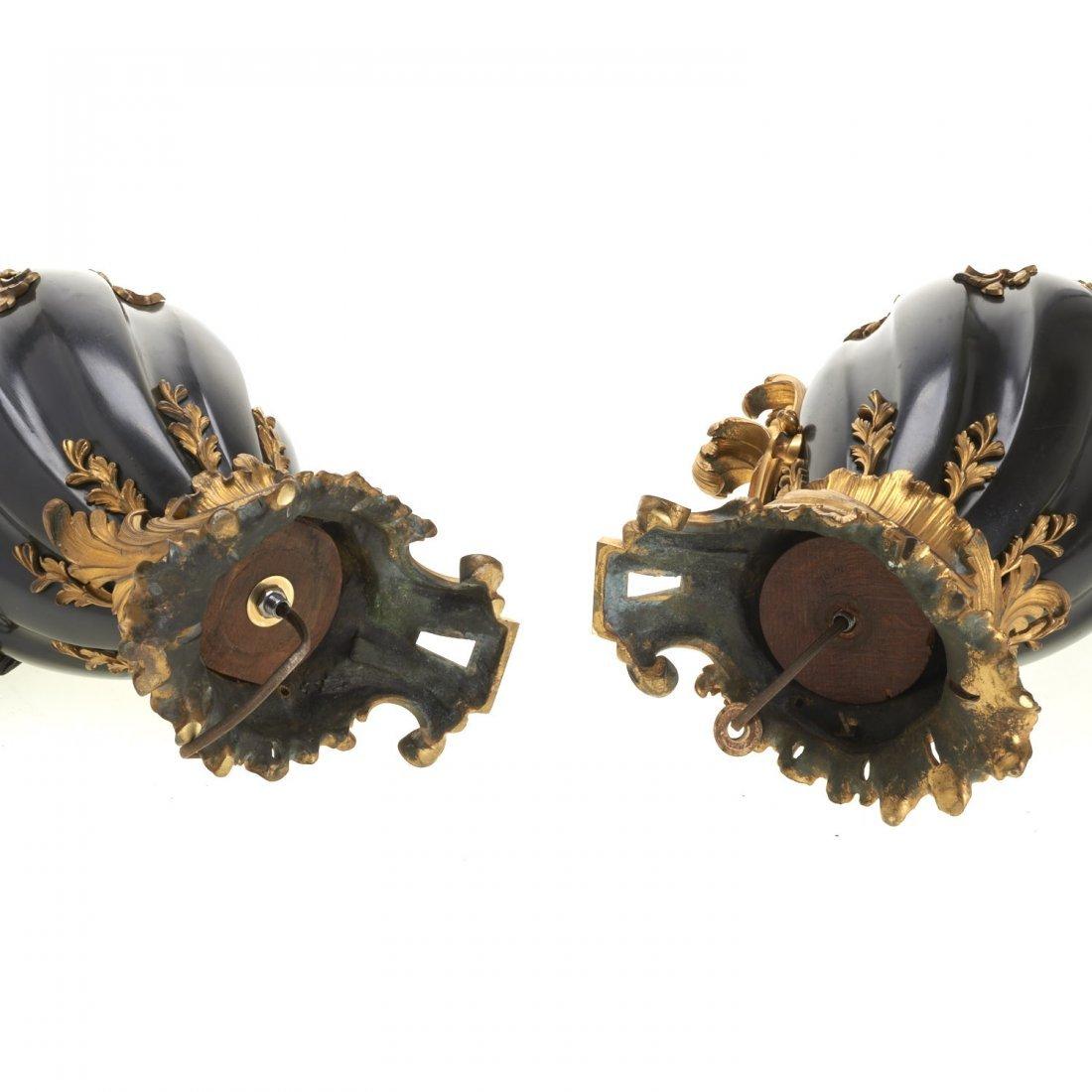 Pr Continental Rococo gilt, ebonized bronze lamps - 7