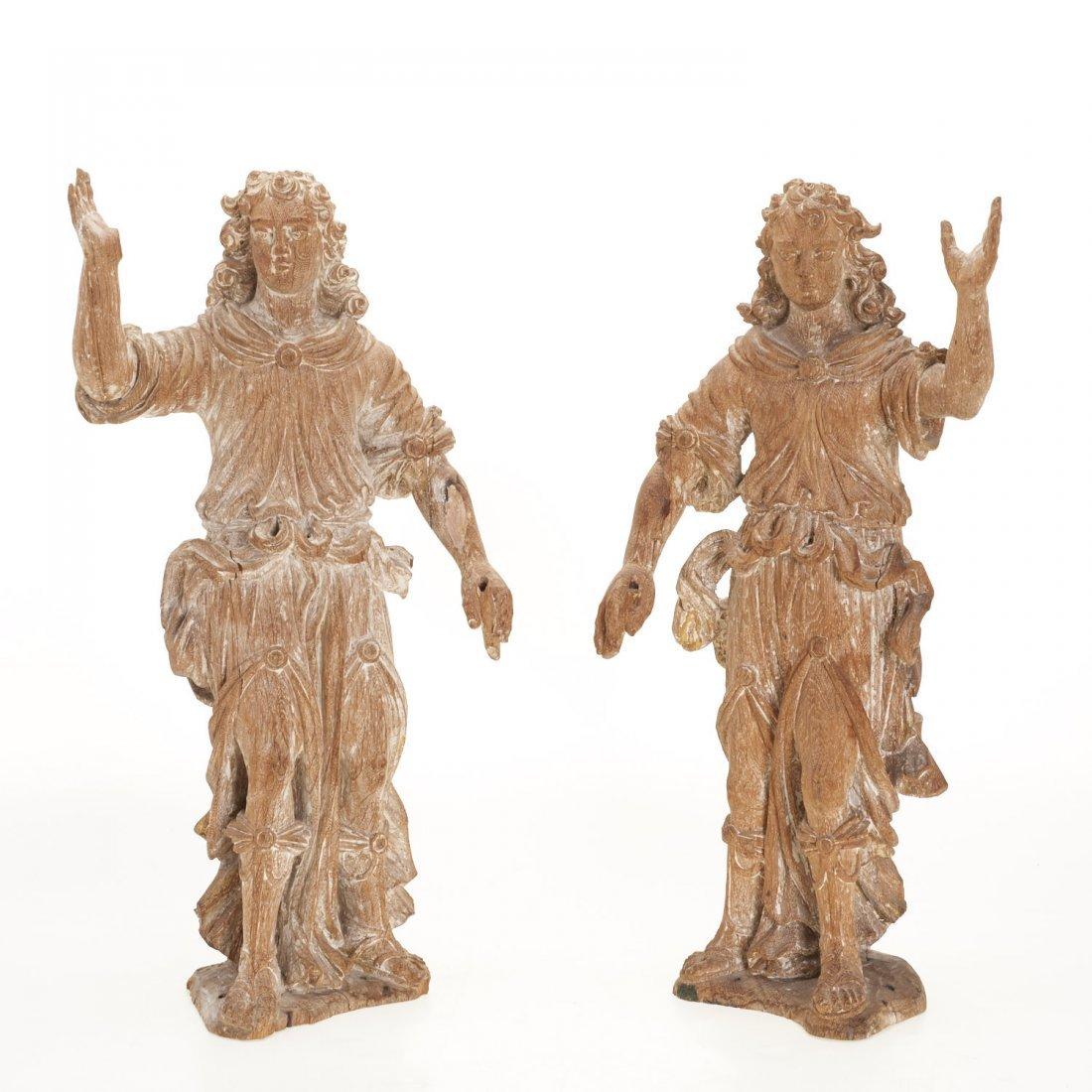 Pr Antique Continental carved, cerused oak angels