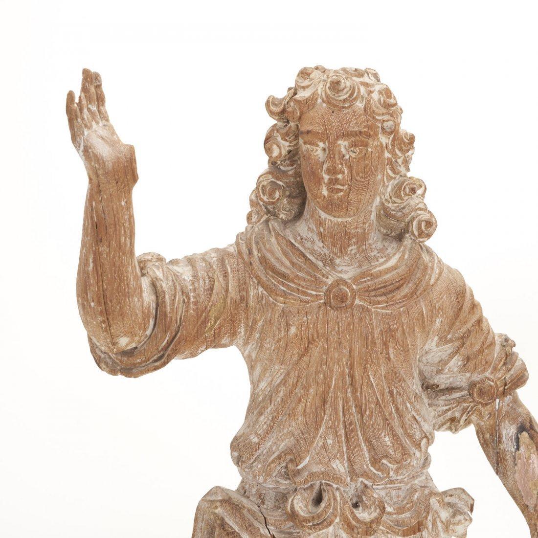 Pr Antique Continental carved, cerused oak angels - 2