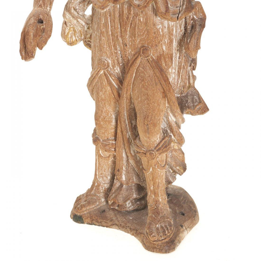 Pr Antique Continental carved, cerused oak angels - 3