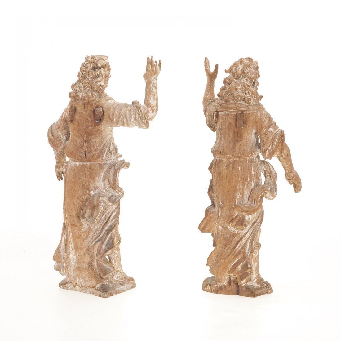 Pr Antique Continental carved, cerused oak angels - 4