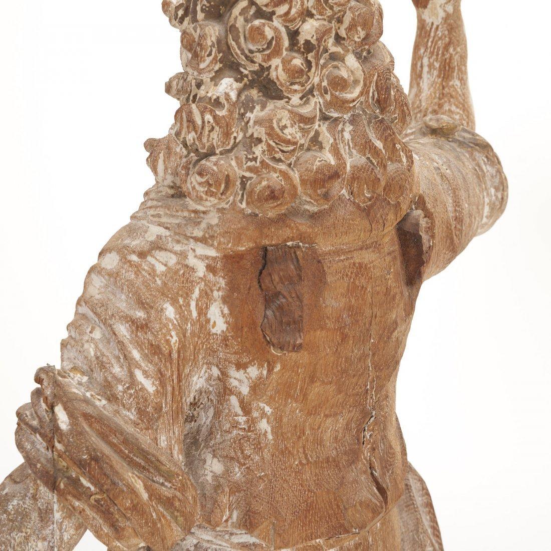 Pr Antique Continental carved, cerused oak angels - 5