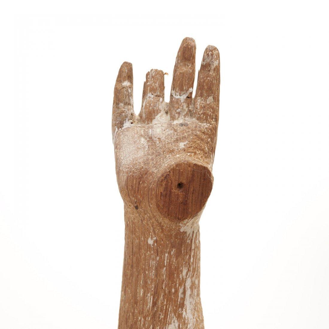 Pr Antique Continental carved, cerused oak angels - 7