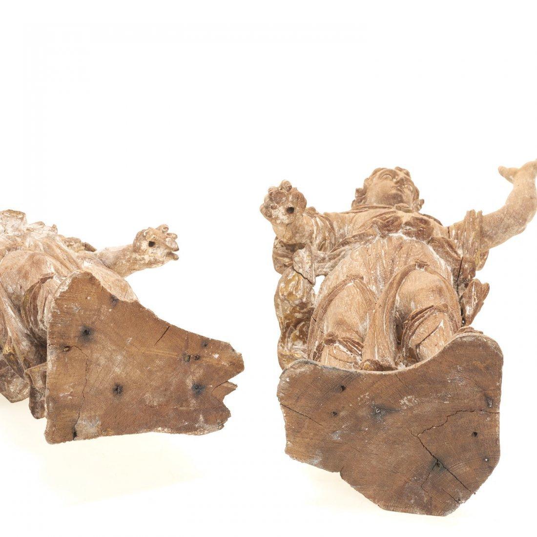 Pr Antique Continental carved, cerused oak angels - 8