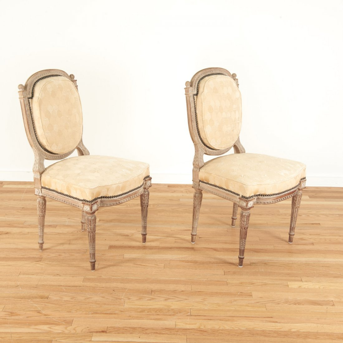 Pair Directoire style limed wood side chairs - 2