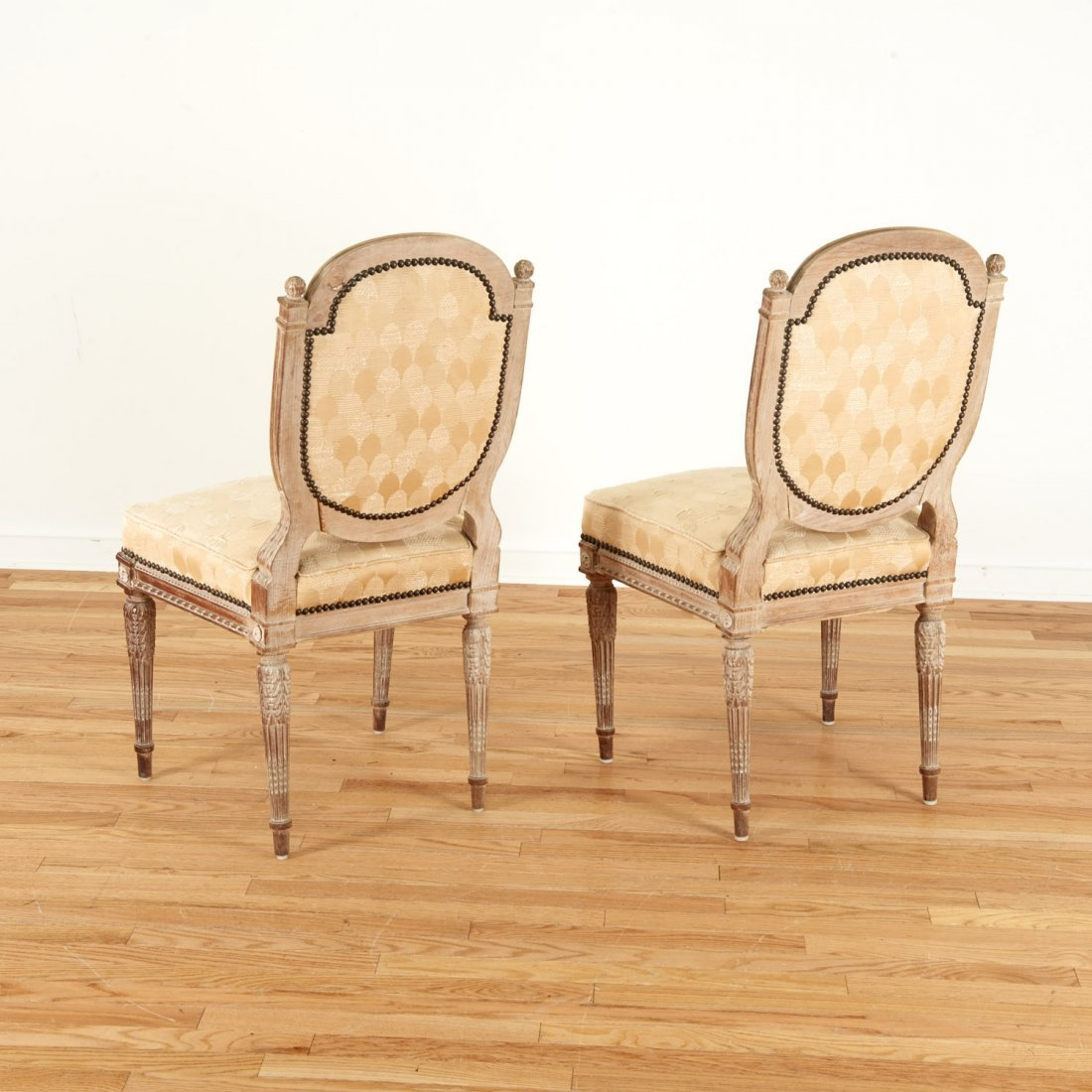 Pair Directoire style limed wood side chairs - 5