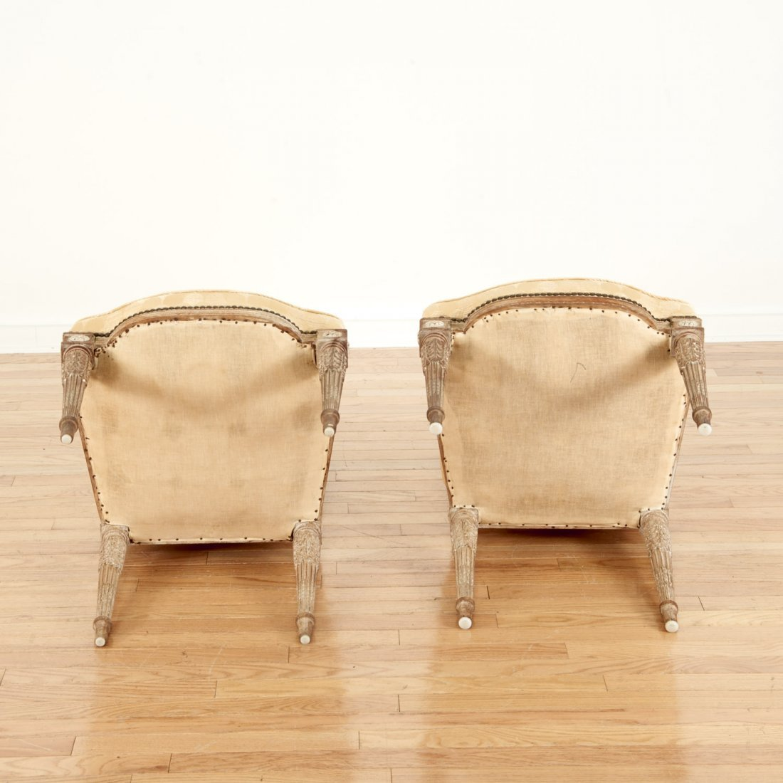 Pair Directoire style limed wood side chairs - 8
