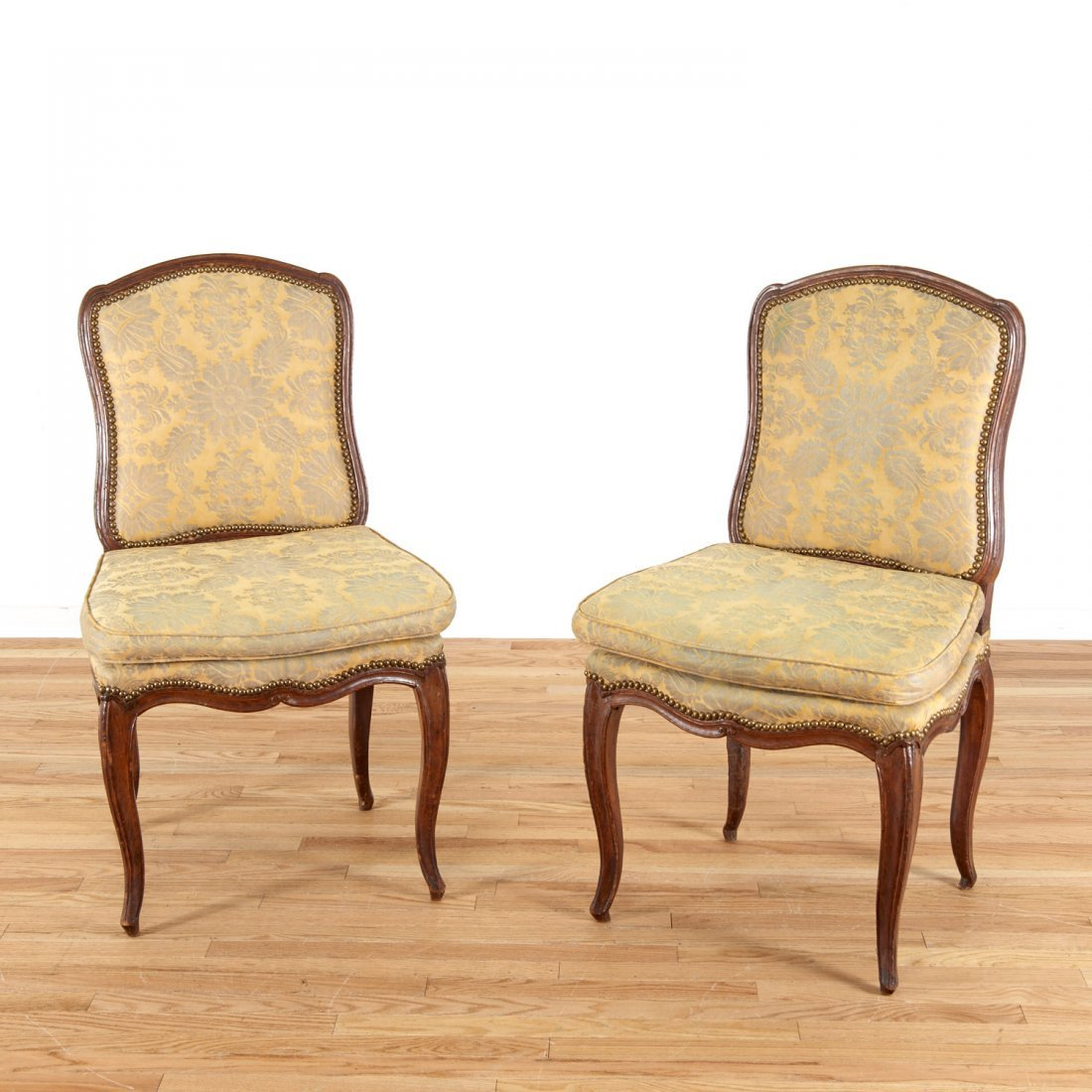 Pair Italian Provincial walnut side chairs