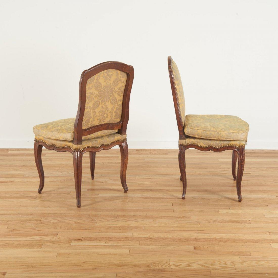 Pair Italian Provincial walnut side chairs - 2