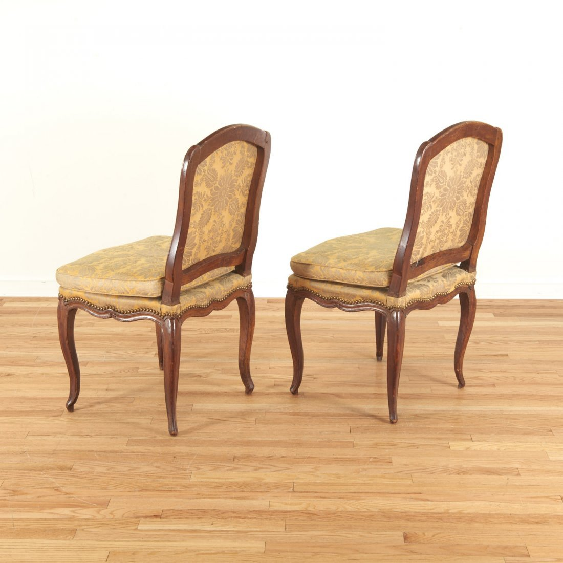 Pair Italian Provincial walnut side chairs - 4