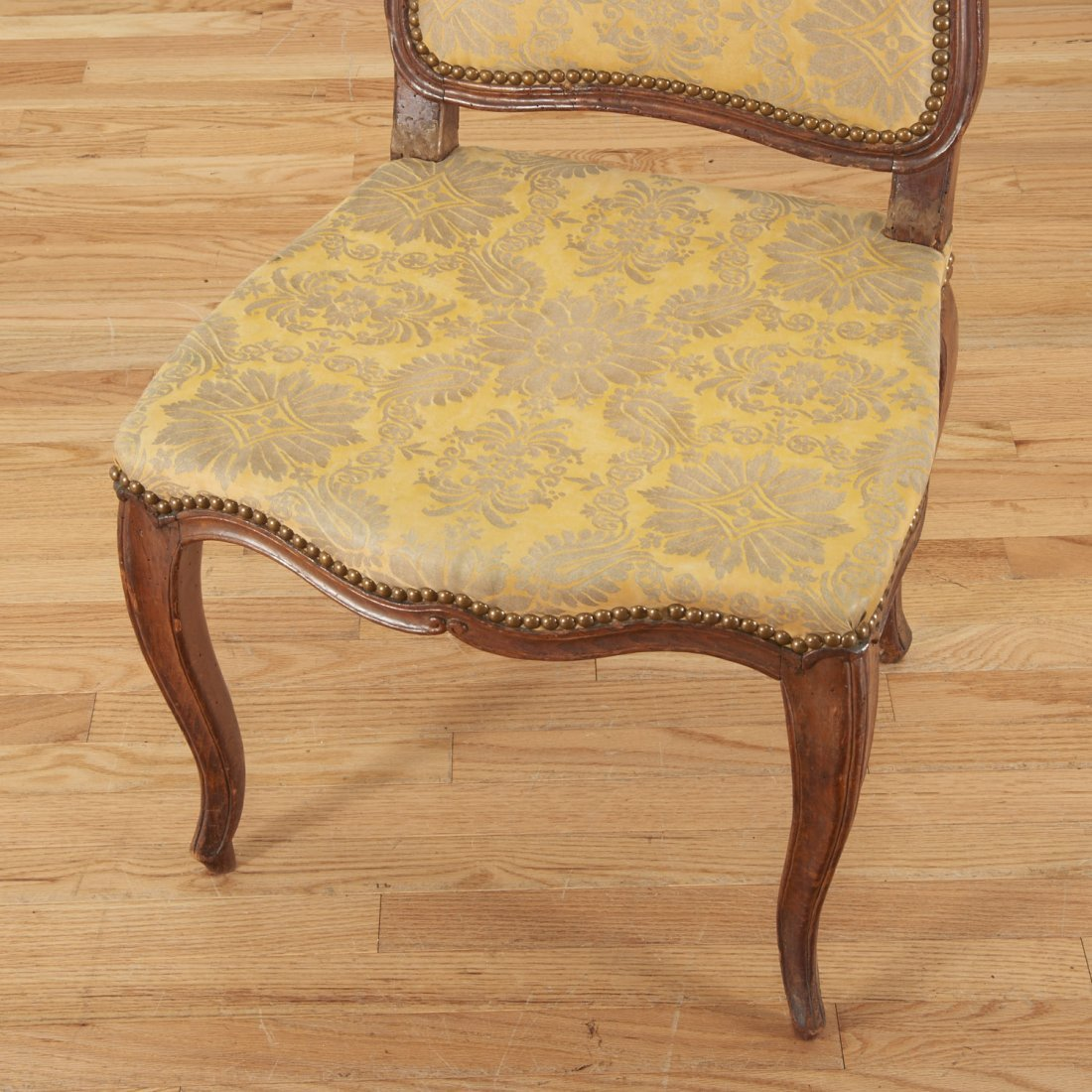 Pair Italian Provincial walnut side chairs - 5