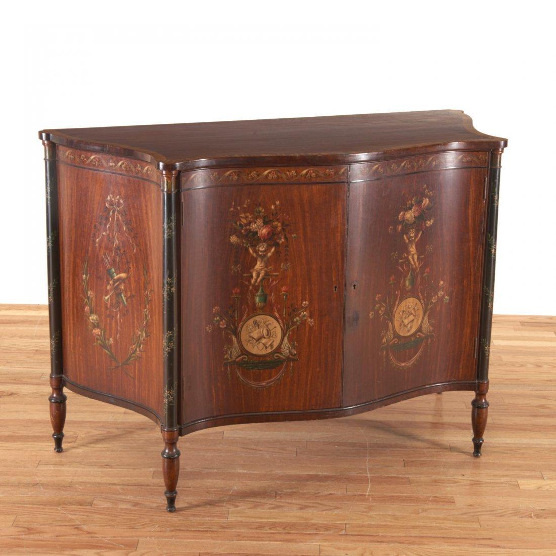 Edwardian paint decorated serpentine cabinet