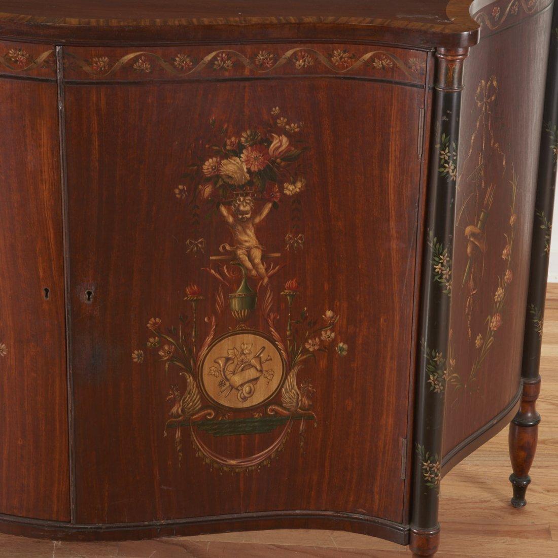 Edwardian paint decorated serpentine cabinet - 3