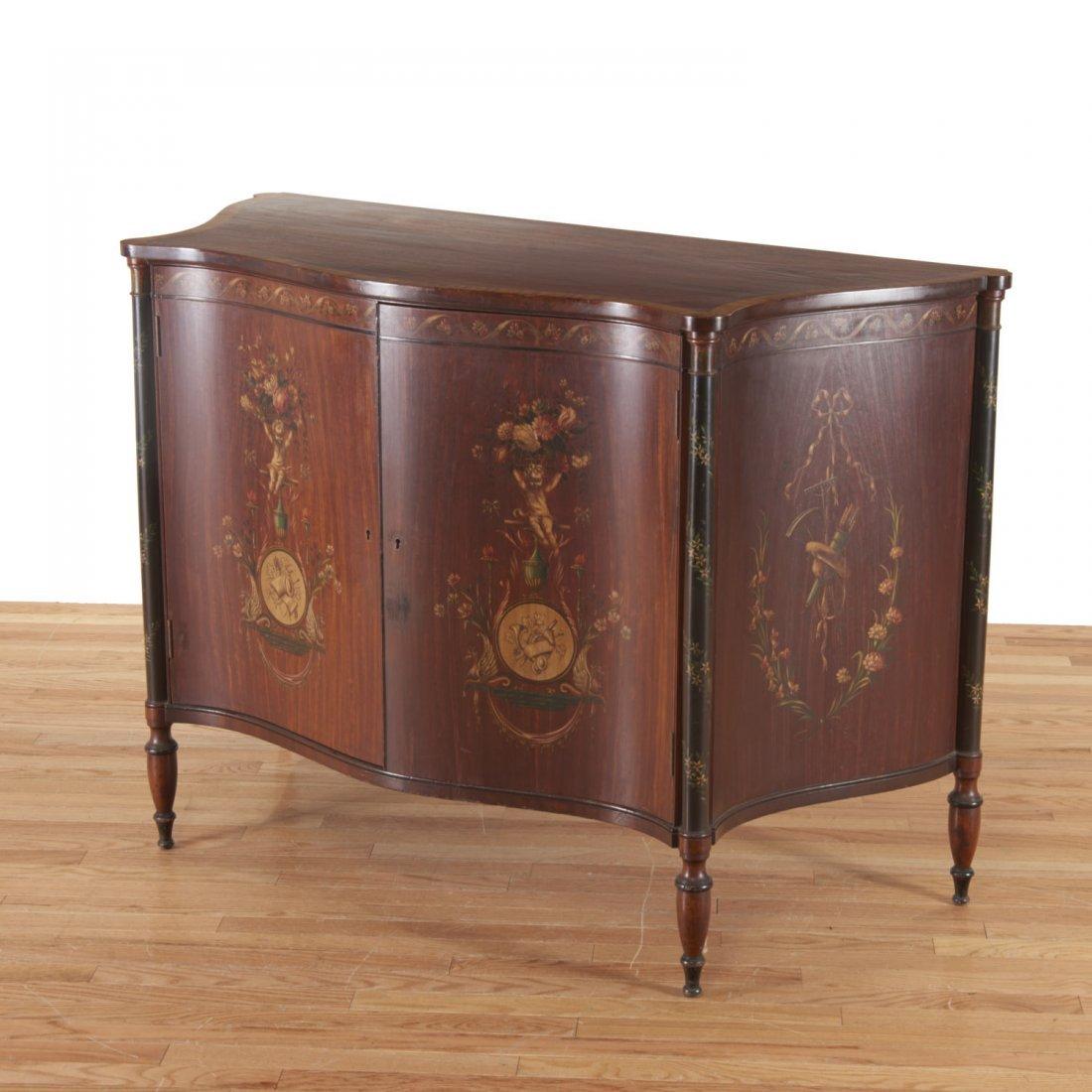Edwardian paint decorated serpentine cabinet - 4