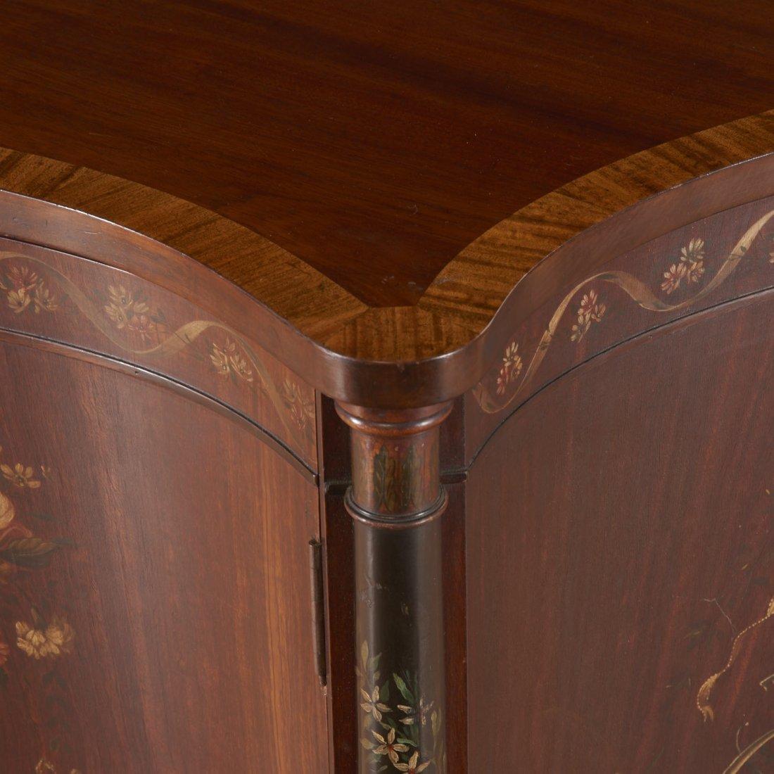 Edwardian paint decorated serpentine cabinet - 6