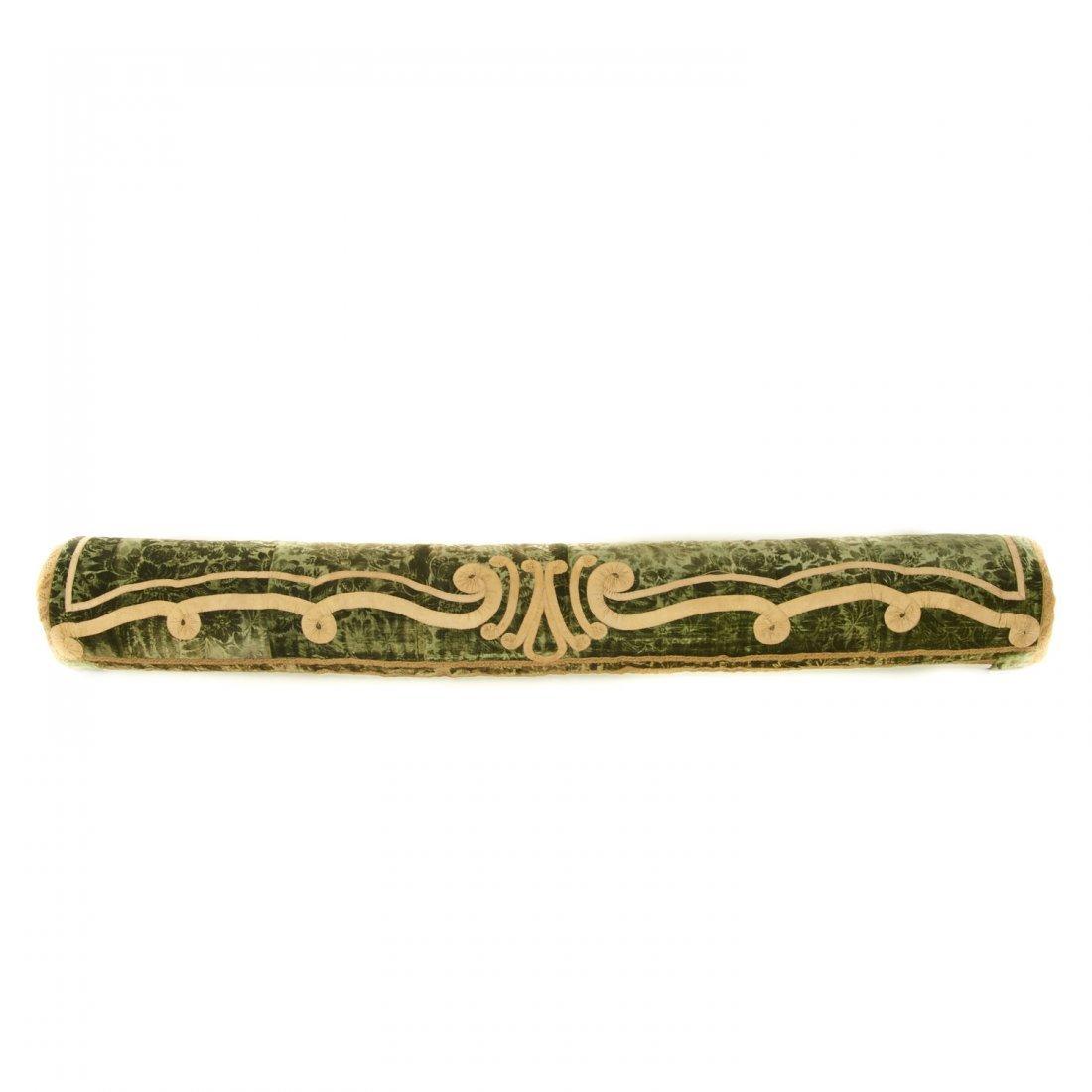 Antique Italian silk velvet bolster cover