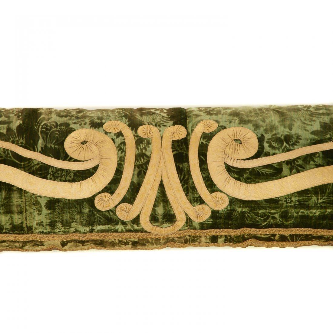 Antique Italian silk velvet bolster cover - 2