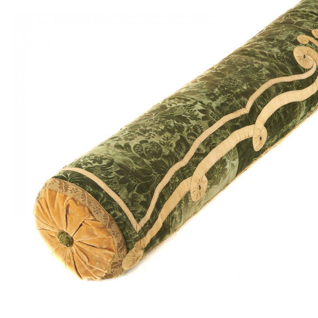 Antique Italian silk velvet bolster cover - 3