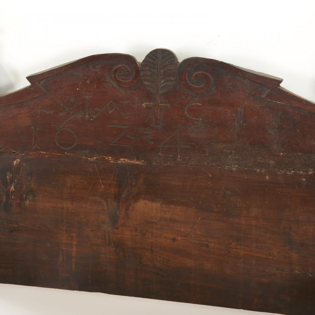 Pair Italian Baroque carved oak beds - 5