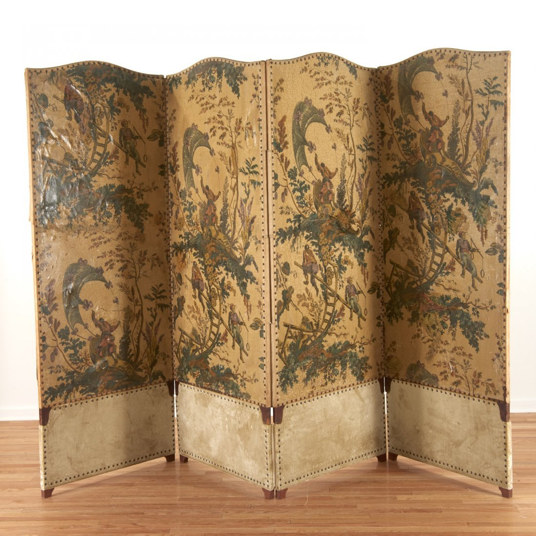 Flemish Chinoiserie hand-painted 4-panel screen