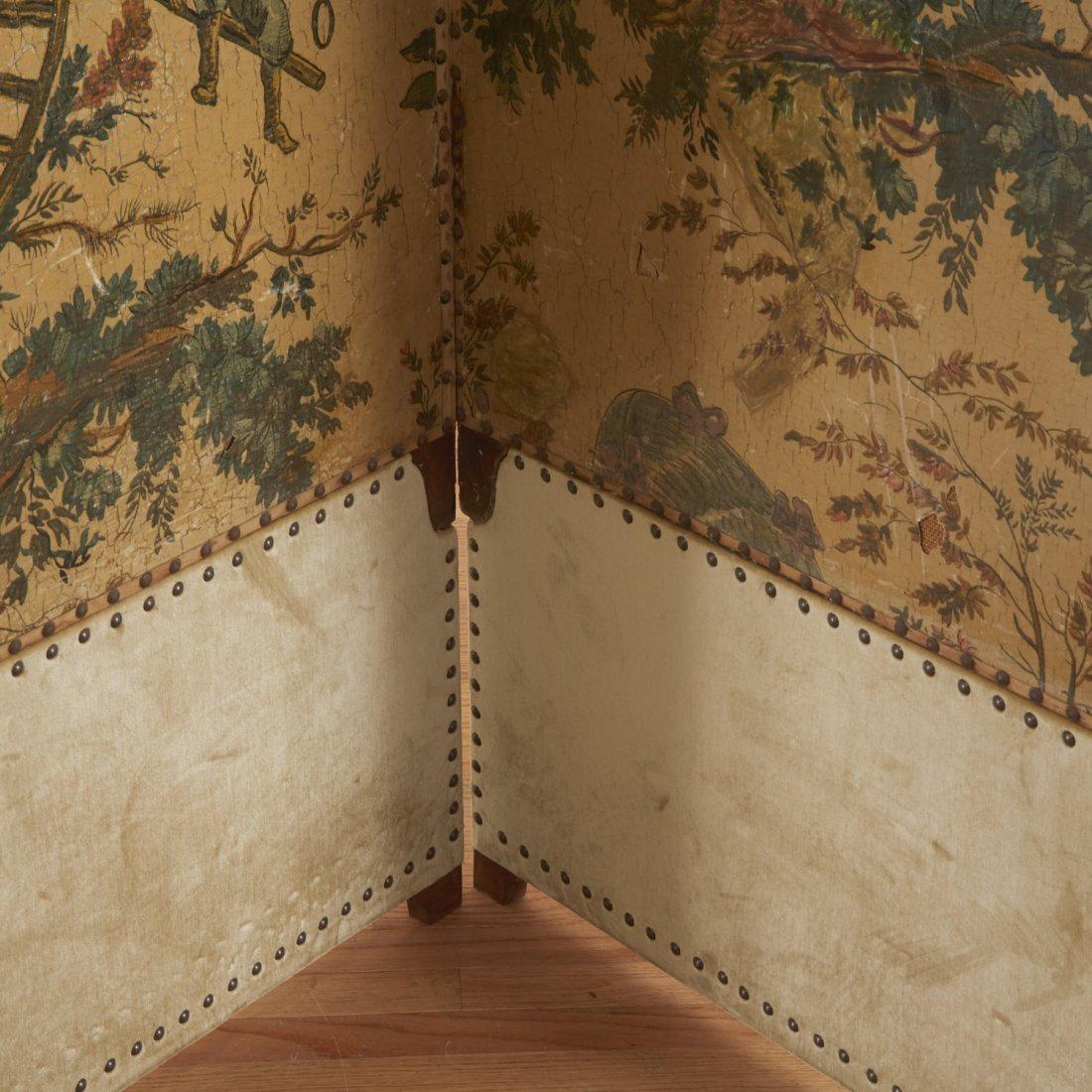 Flemish Chinoiserie hand-painted 4-panel screen - 4