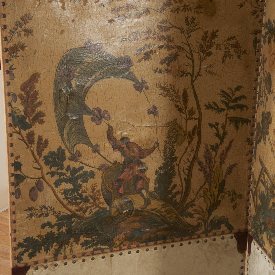 Flemish Chinoiserie hand-painted 4-panel screen - 6