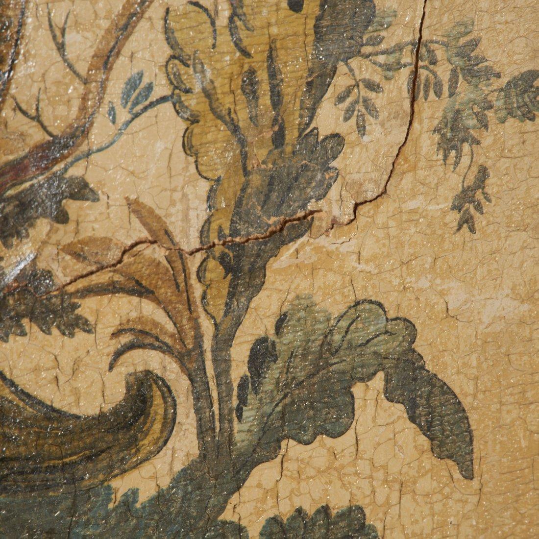 Flemish Chinoiserie hand-painted 4-panel screen - 7