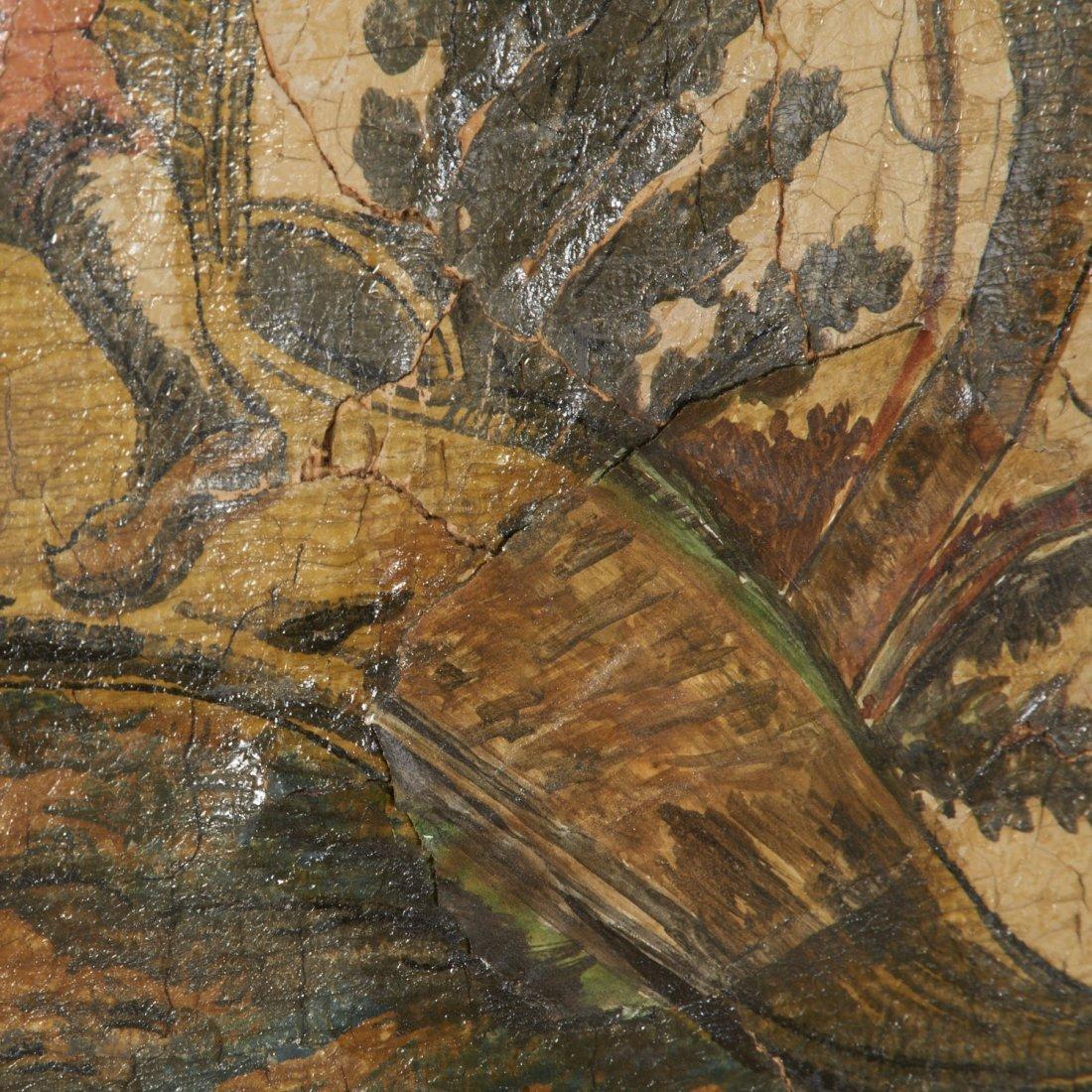 Flemish Chinoiserie hand-painted 4-panel screen - 8