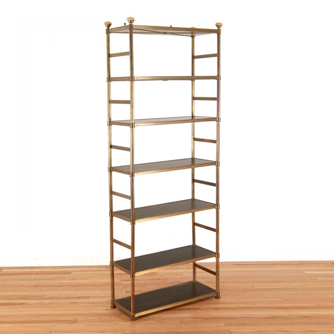 Attr. Maison Jansen brass, ebonized wood etagere