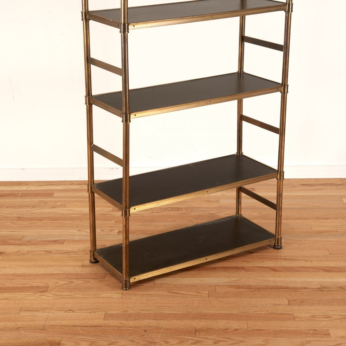 Attr. Maison Jansen brass, ebonized wood etagere - 3