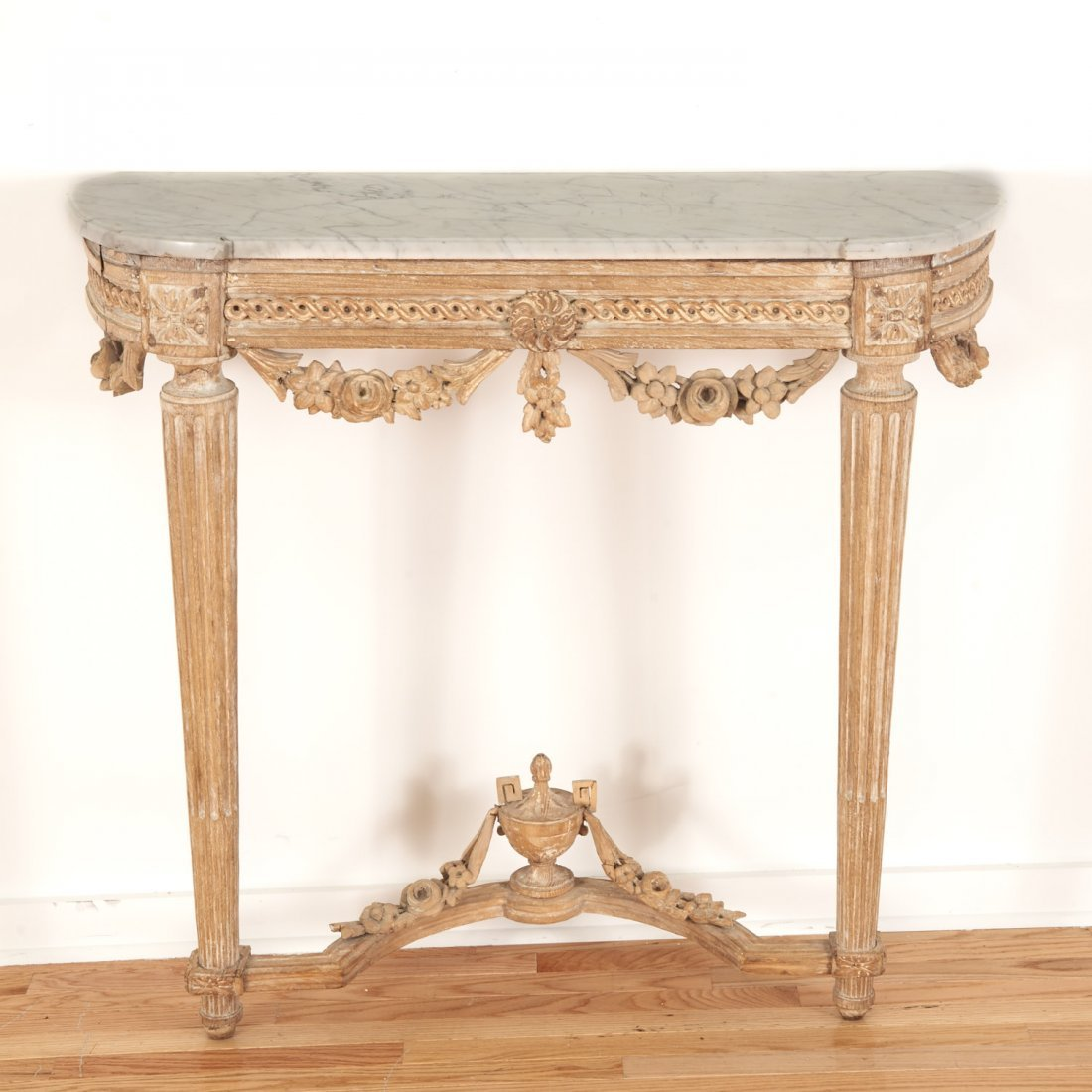 Louis XVI marble top limed wood console