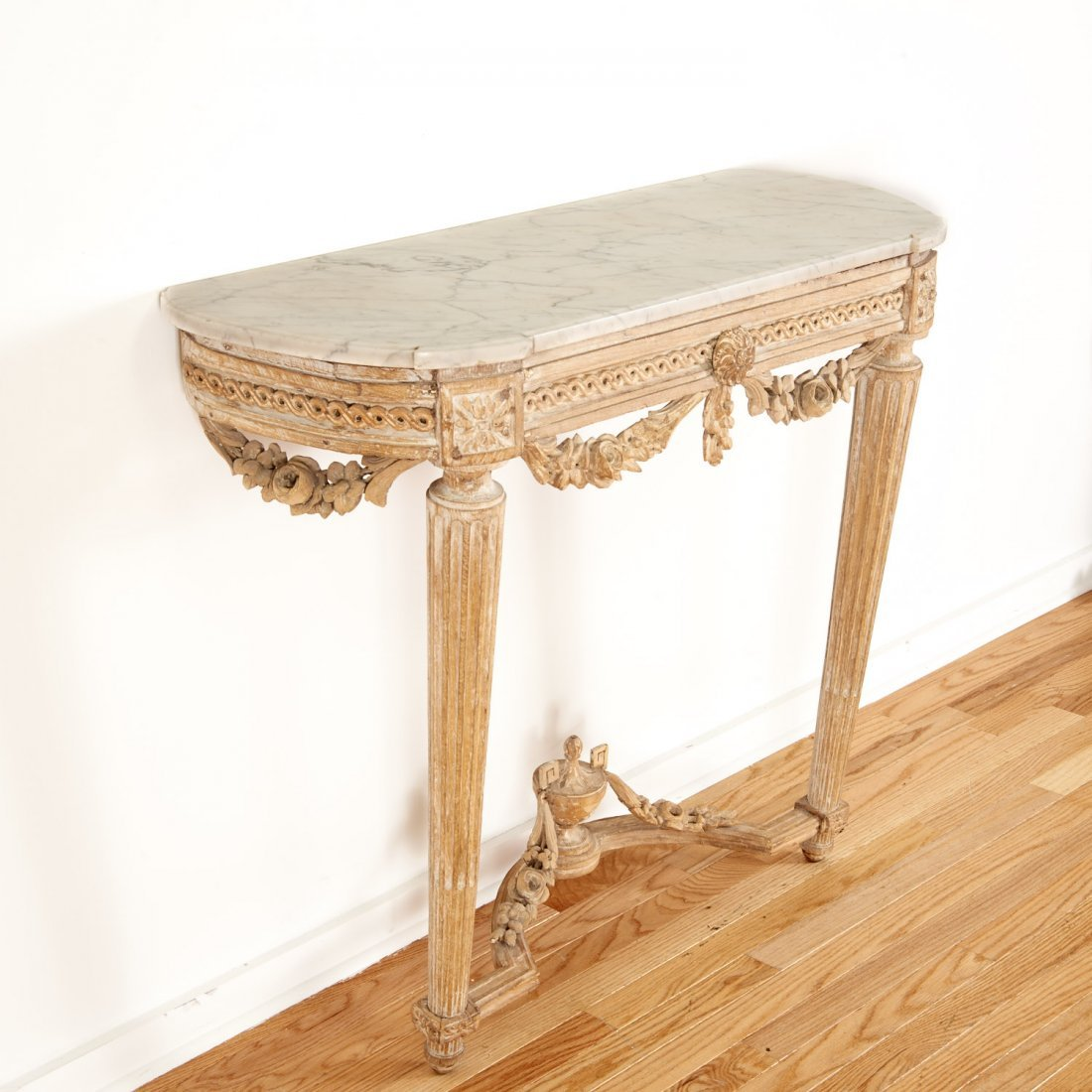Louis XVI marble top limed wood console - 2