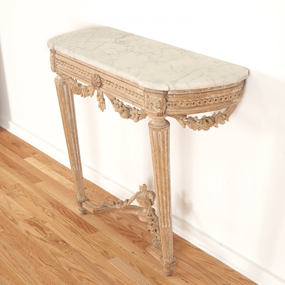 Louis XVI marble top limed wood console - 3