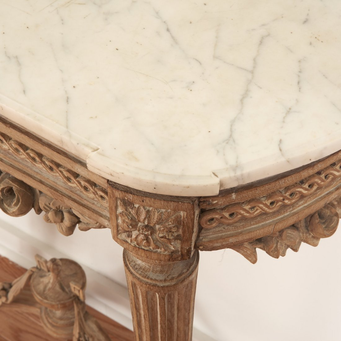 Louis XVI marble top limed wood console - 6