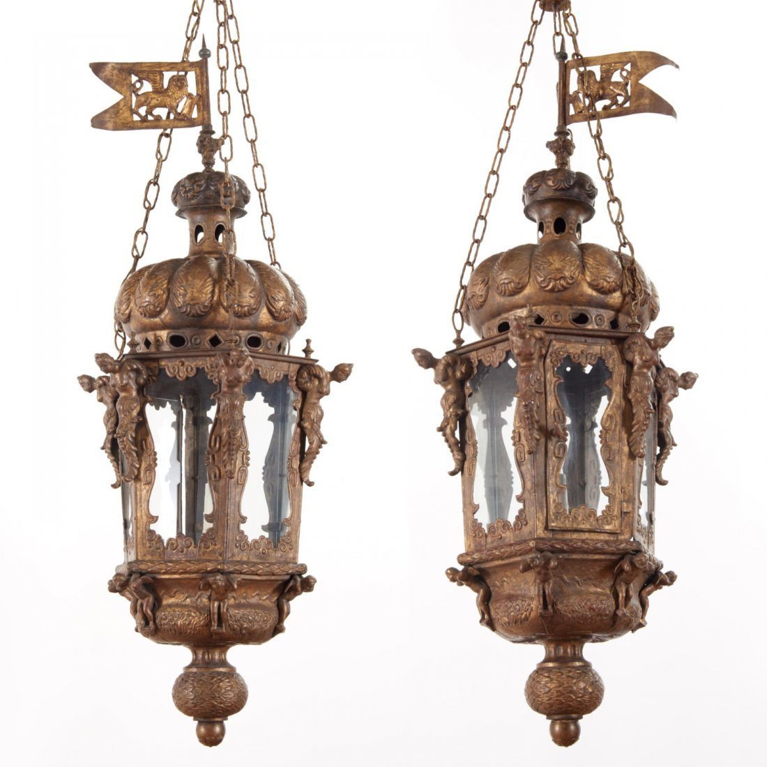 Large antique Venetian gilt metal hall lanterns