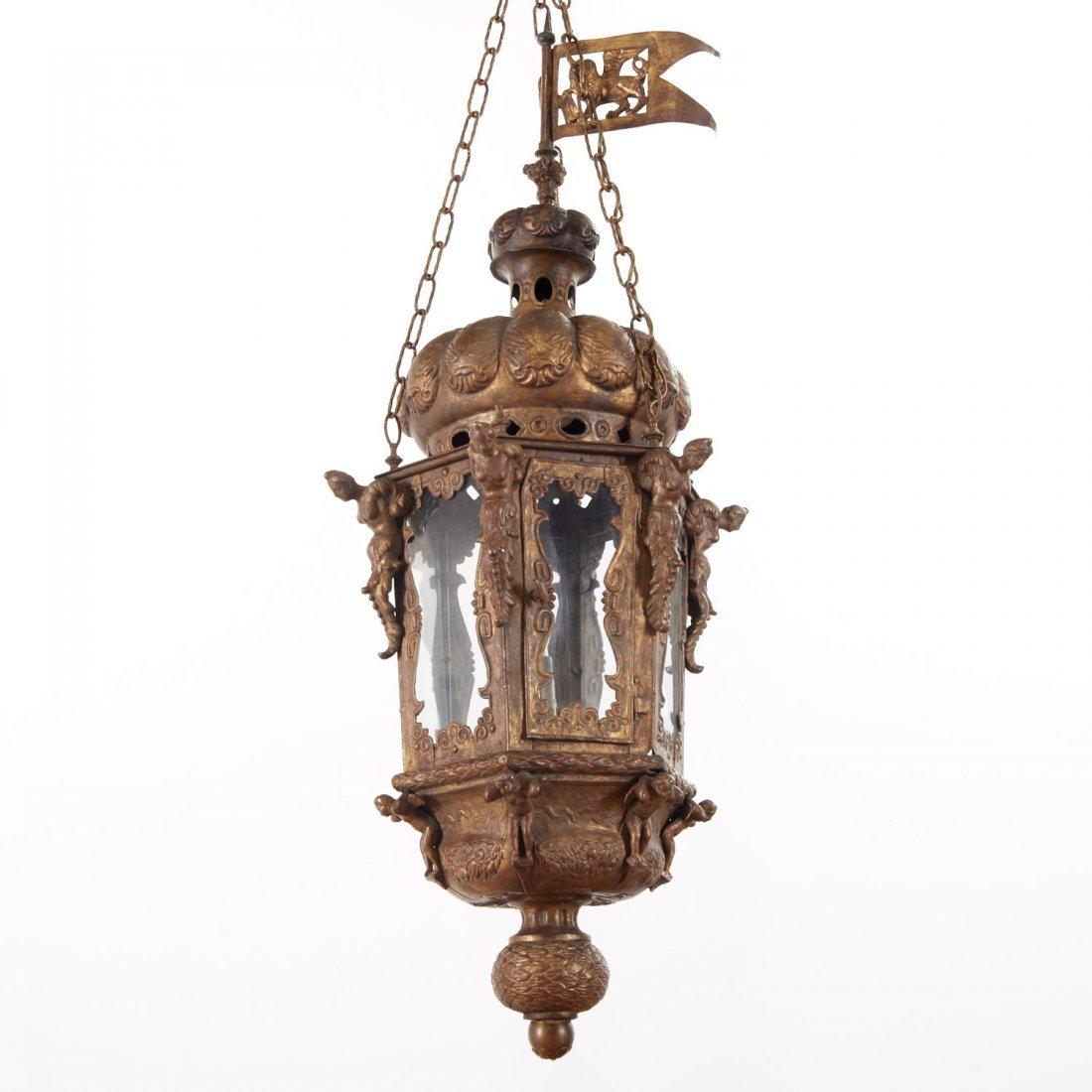 Large antique Venetian gilt metal hall lanterns - 2