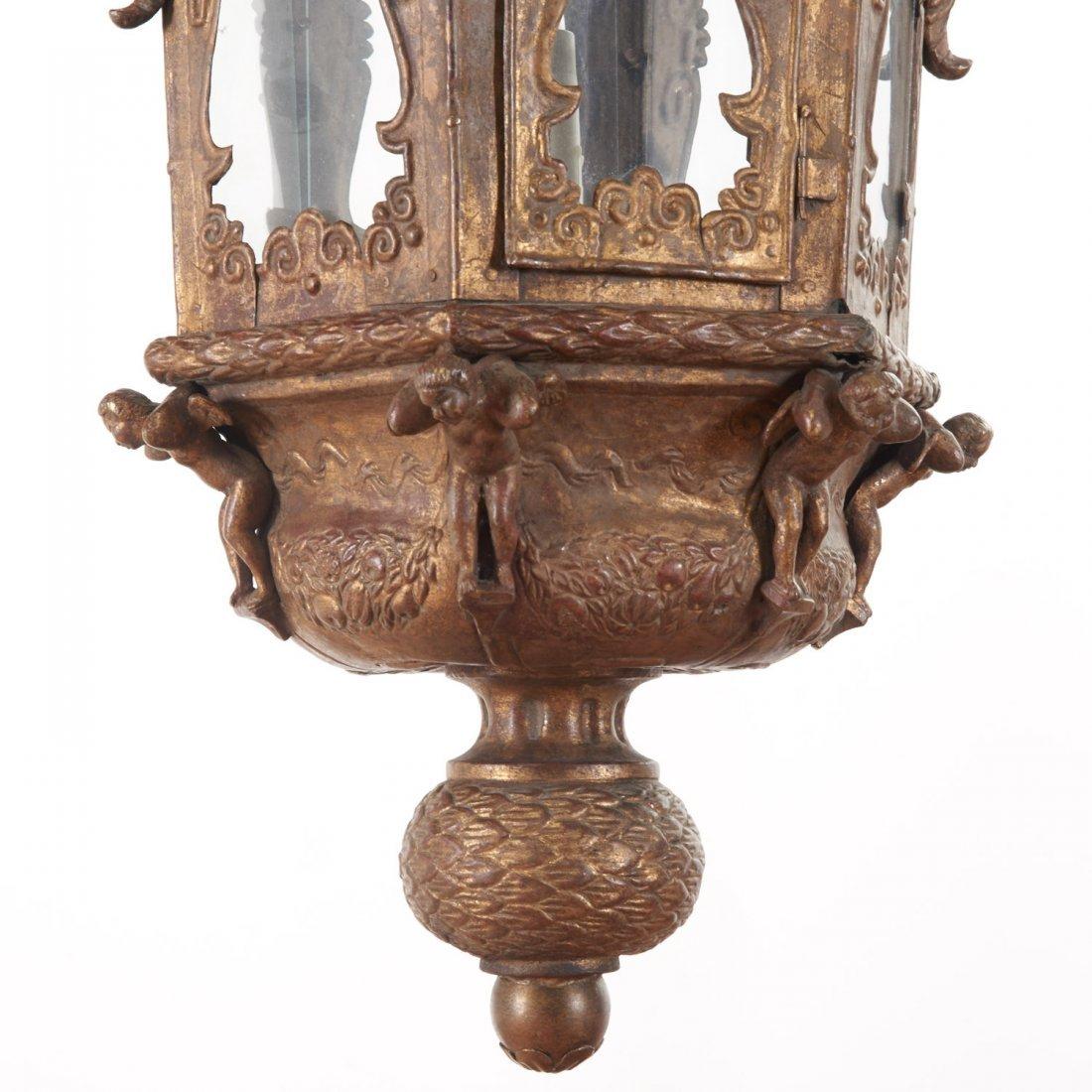 Large antique Venetian gilt metal hall lanterns - 3