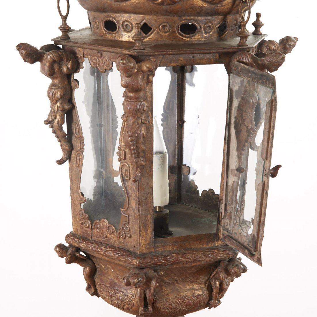 Large antique Venetian gilt metal hall lanterns - 4